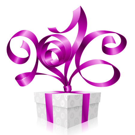 festal: purple ribbon and gift box. Symbol of New Year 2016