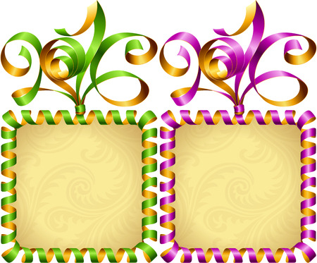 streamer: Vector New Year 2016 square frame set. Purple and green streamer.