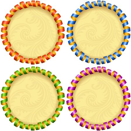 streamer: Vector holiday circle frame set. Red, blue, green and purple streamer. Illustration