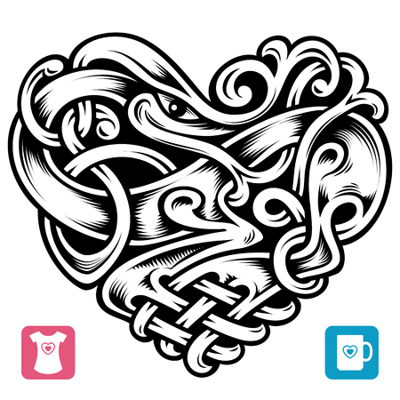 Vector celtic pattern in the shape of heart 免版税图像 - 51107818