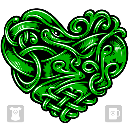 keltische muster: Vector keltische Muster in der Form des Herzens