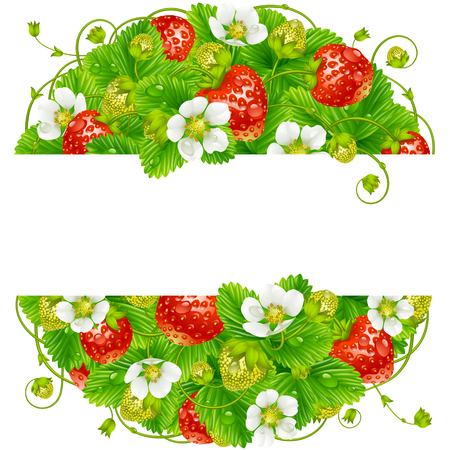 Vector strawberry round frame. Circle composition of ripe red berries Иллюстрация