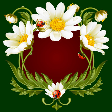 oxeye: Vector frame with daisies and ladybug in the shape of floral beast face