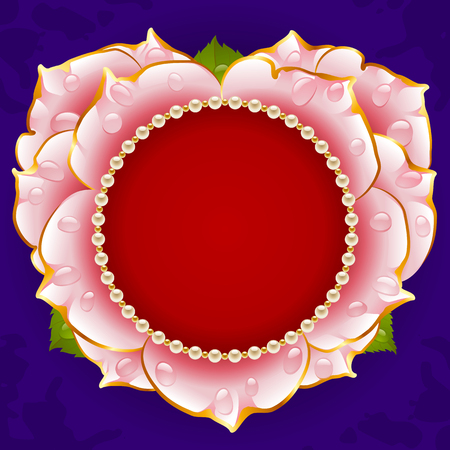 pearl necklace: Vector pink Rose heart frame with pearl necklace