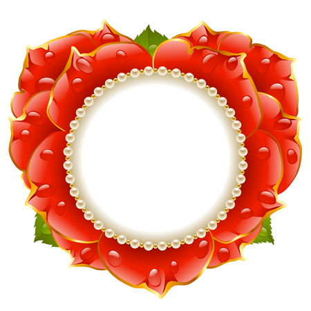Vector red Rose heart frame with pearl necklace isolated on white background Illustration