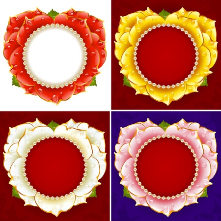 red rose: Vector flower heart frame set. Red, white, pink and yellow rose with pearl necklace