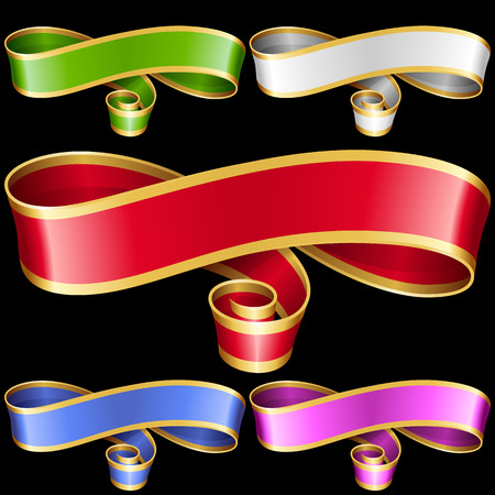 titles: Vector ribbon frames set. White, blue, red, golden, green and purple banners isolated on black background