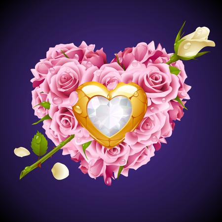 rosas blancas: Vector de color rosa Rosas, joya de oro y cristal blanco en forma de corazón con la flor de la flecha