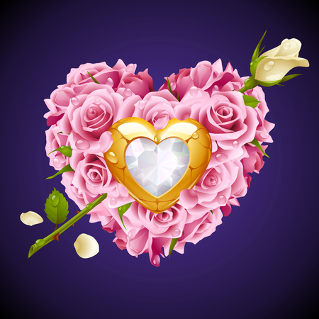white roses: Vector pink Roses, golden jewel and white crystal in the shape of heart with flower arrow