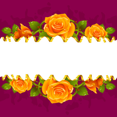 valentine card: Vector horizontal frame whith yellow roses and golden ribbon Illustration
