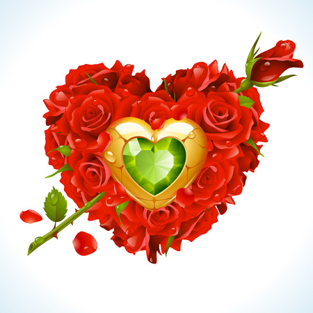 Vector red Roses, golden jewel and green crystal in the shape of heart with flower