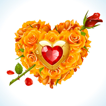 flower heart: Vector yellow Roses, golden jewel and red crystal in the shape of heart with flower arrow