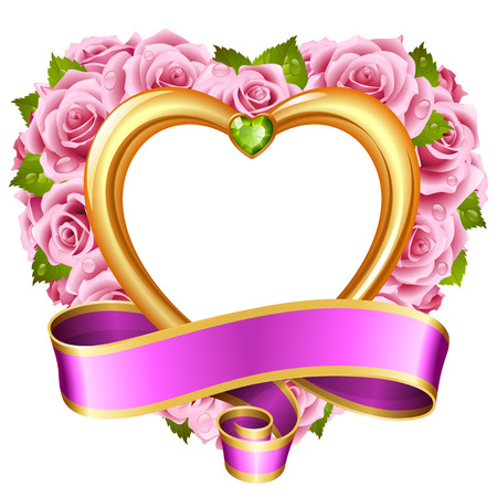 jewels: Vector rose frame in the shape of heart. Pink flowers, ribbon, golden border and green diamond Illustration