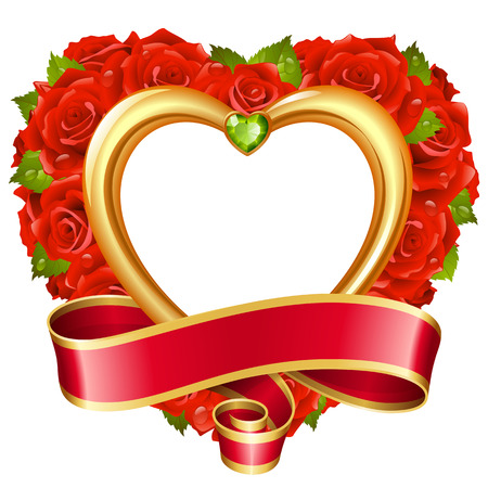 Vector rose frame in the shape of heart. Red flowers, ribbon, golden border and green diamond