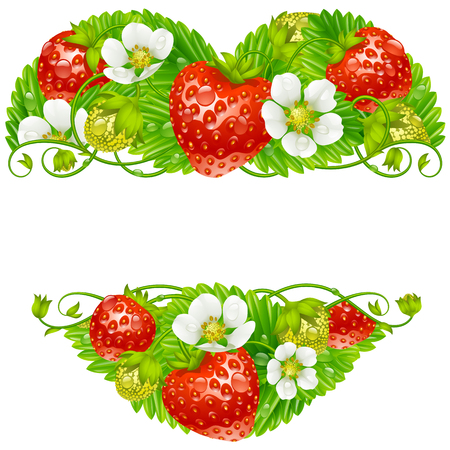 strawberry: Vector strawberry frame in the shape of heart