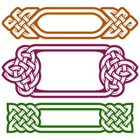 celtic background: Vector celtic frame set isolated on white background