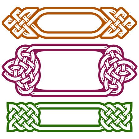 Vector celtic frame set isolato su sfondo bianco
