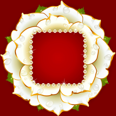 pearl necklace: Vector white Rose circle frame with pearl necklace
