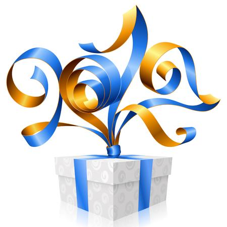 postcard box: blue ribbon and gift box. Symbol of New Year 2017