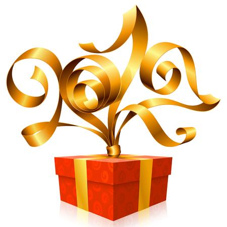 postcard box: golden ribbon and gift box. Symbol of New Year 2017