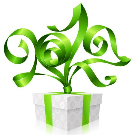 green ribbon and gift box. Symbol of New Year 2017