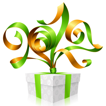postcard box: green ribbon and gift box. Symbol of New Year 2017