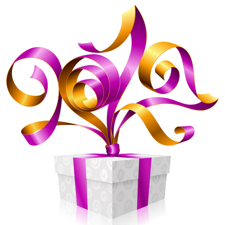 christmas backgrounds: purple ribbon and gift box. Symbol of New Year 2017 Illustration
