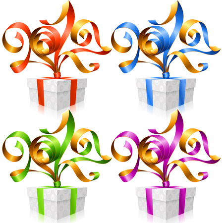 postcard box: set of ribbons and gift boxes. Symbol of New Year 2017