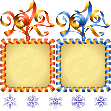 christmas backgrounds: New Year 2017 square frame set. Red and blue streamer.