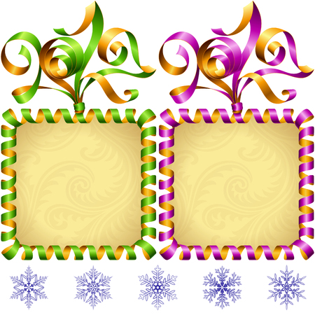 serpentines: New Year 2017 square frame set. Green and purple streamer.
