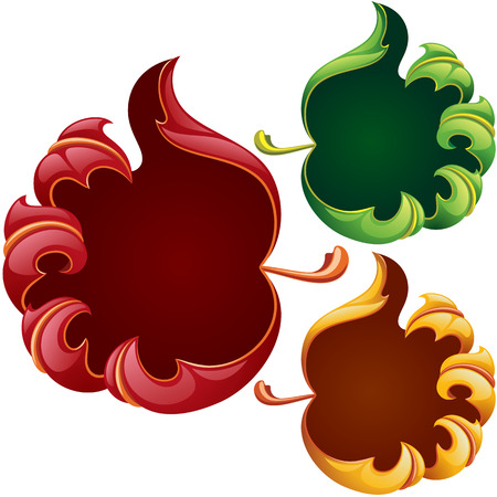 fall leaves on white: fall leaves frame set in the shape of hand sign good. Red, yellow and green leaf isolated on white background