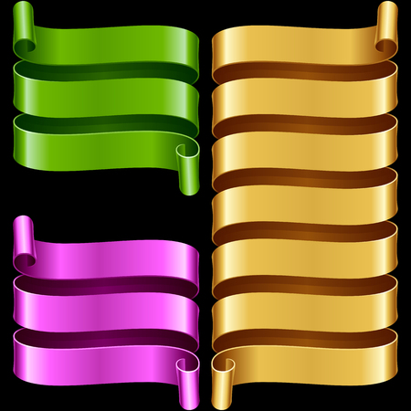 ribbon frames set. Green, purple and yellow banners isolated on black background