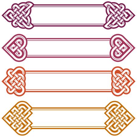 Vector Irish Frame festgelegt. Gestaltungselemente des keltischen Knotens in der Form des Herzens. Mittelalterliche Kunst isoliert auf weißem Hintergrund.