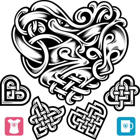 traditional pattern: Vector celtic heart set. Cute small irish tattoo or Romantic symbol in the medieval design isolated on white background. Celtic animal and abstract knot pattern. Illustration