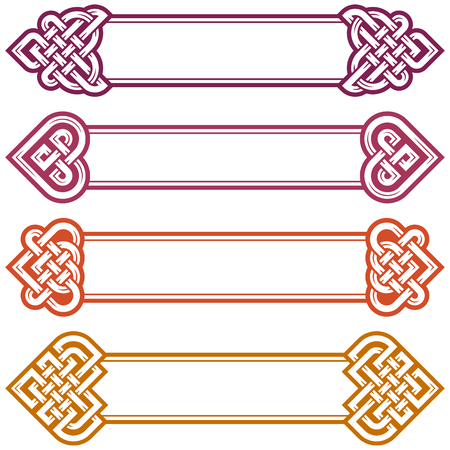 celtic: Vector Irish Frame set. Design elements of Celtic Knot in the shape of Heart. Medieval Art isolated