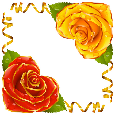 Corner vignette from the Rose Heart and Swirl Ribbons. Red and Yellow Flowers with Gold Trim and Golden Streamers. Valentines Day, Wedding celebration or Romantic Lovely Design isolated  . Vector Illustration.