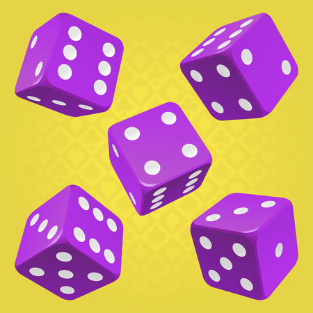 odds: Vector Casino Dice Set of 5 Authentic Icons. Purple Poker Cubes with White Pips Isolated on Yellow Background. 3d Board Game Pieces