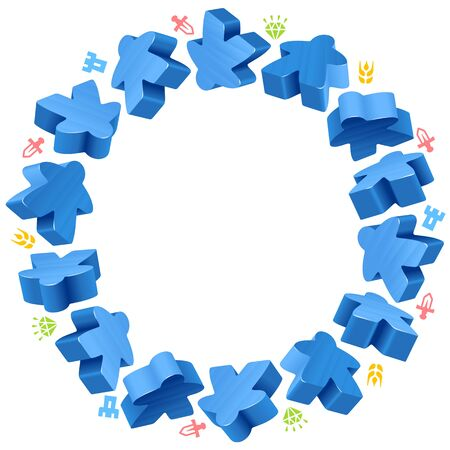 Circle frame of blue meeples for board games. Game pieces and resources counter icons.