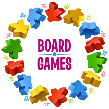 Circle frame van veelkleurige meeples voor bordspellen. Spel stukken en middelen teller iconen.