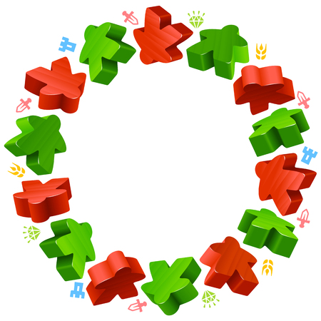 boardgames: Circle frame of meeples for board games. Red and green game pieces, and resources counter icons isolated on white background. Vector border for design boardgames advertisement or template of geek t-shirt print Illustration
