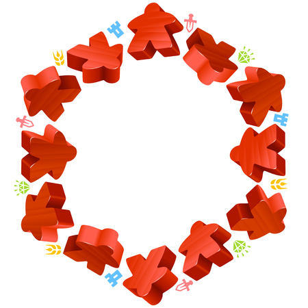 boardgames: Hex frame of red meeples for board games. Game pieces and resources counter icons isolated on white background. Vector border for design boardgames advertisement or template of geek t-shirt print