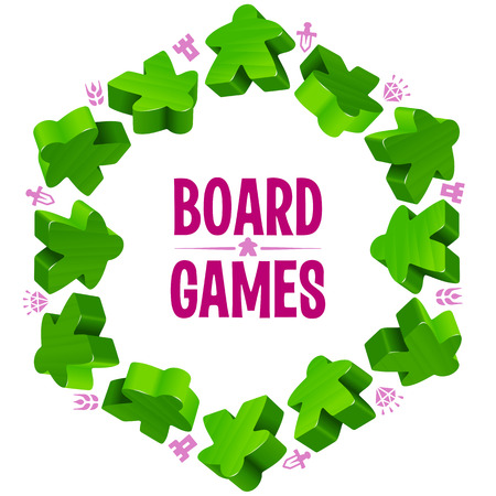 boardgames: Hex frame of green meeples for board games. Game pieces and resources counter icons isolated on white background. Vector border for design boardgames advertisement or template of geek t-shirt print