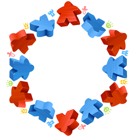 boardgames: Hex frame of meeples for board games. Red and blue game pieces, and resources counter icons isolated on white background. Vector border for design boardgames advertisement or template of geek t-shirt print Illustration