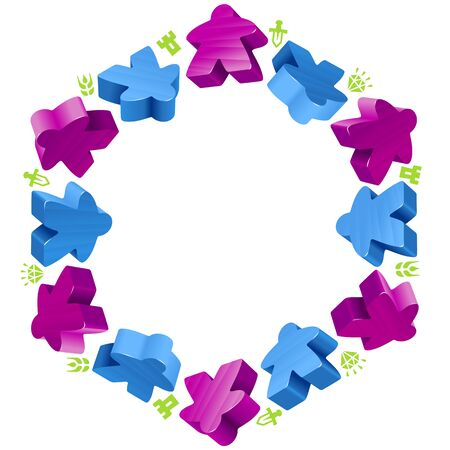 boardgames: Hex frame of meeples for board games. Blue and purple game pieces, and resources counter icons isolated on white background. Vector border for design boardgames advertisement or template of geek t-shirt print Illustration