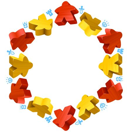 piece: Hex frame of meeples for board games. Red and yellow game pieces, and resources counter icons. Illustration