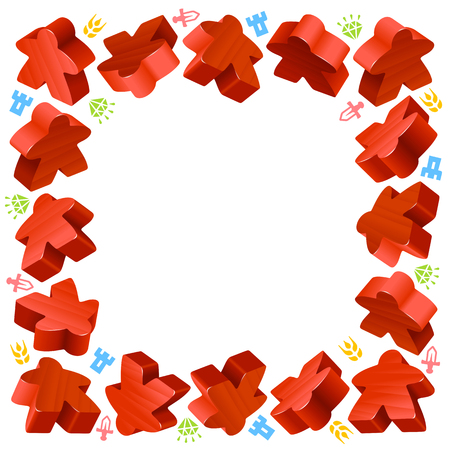 boardgames: Square frame of red meeples for board games. Game pieces and resources counter icons isolated on white background. Vector border for design boardgames advertisement or template of geek t-shirt print