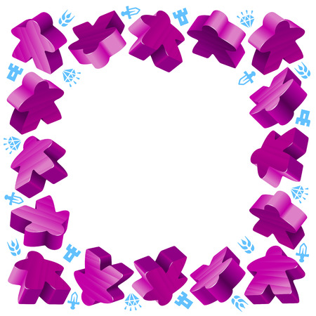 boardgames: Square frame of purple meeples for board games. Game pieces and resources counter icons isolated on white background. Vector border for design boardgames advertisement or template of geek t-shirt print Illustration