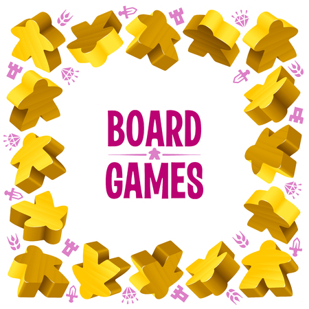 boardgames: Square frame of yellow meeples for board games. Game pieces and resources counter icons isolated on white background. Vector border for design boardgames advertisement or template of geek t-shirt print