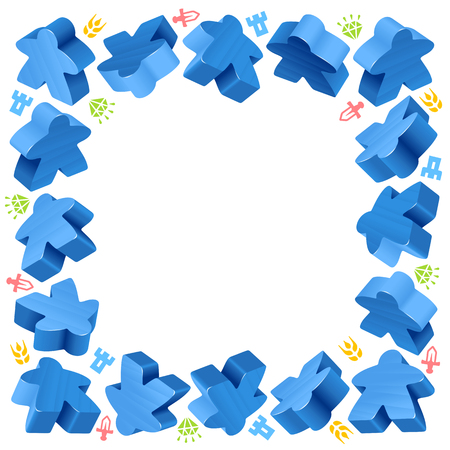 follower: Square frame of blue meeples for board games. Game pieces and resources counter icons isolated. Illustration