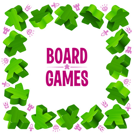 people icon: Square frame of green meeples for board games. Game pieces and resources counter icons isolated on white background. Vector border for design boardgames advertisement or template of geek t-shirt print